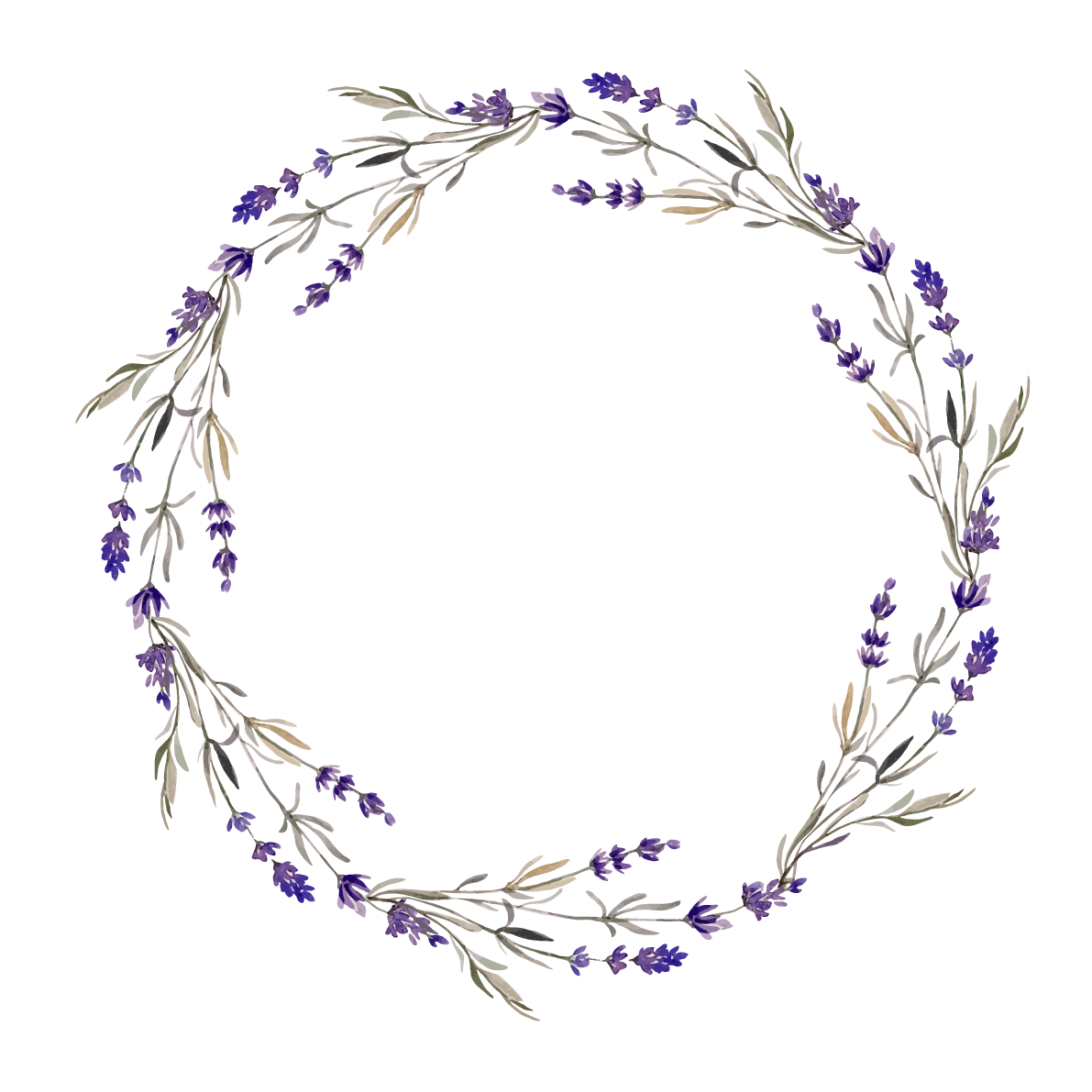 Wreath lavender flower clip. Circle clipart twig