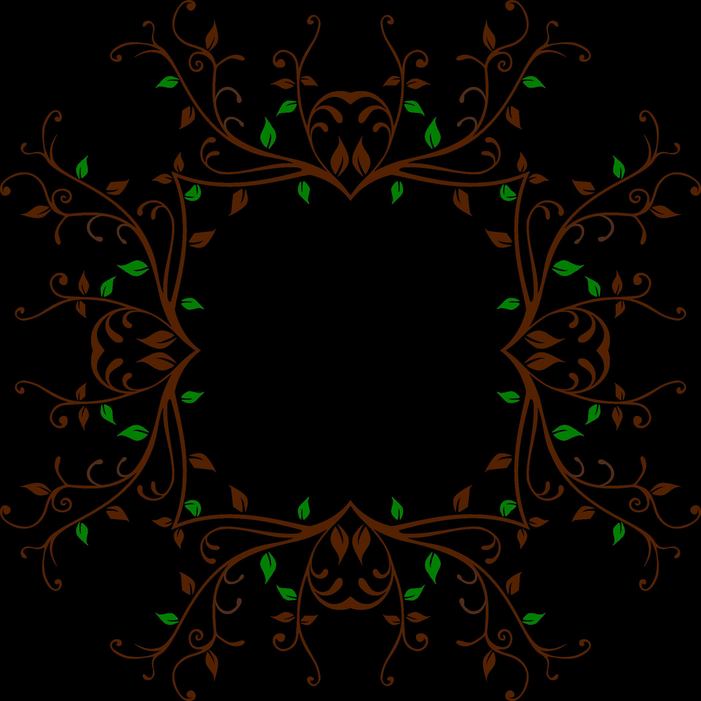 Leafy frame big image. Circle clipart vine
