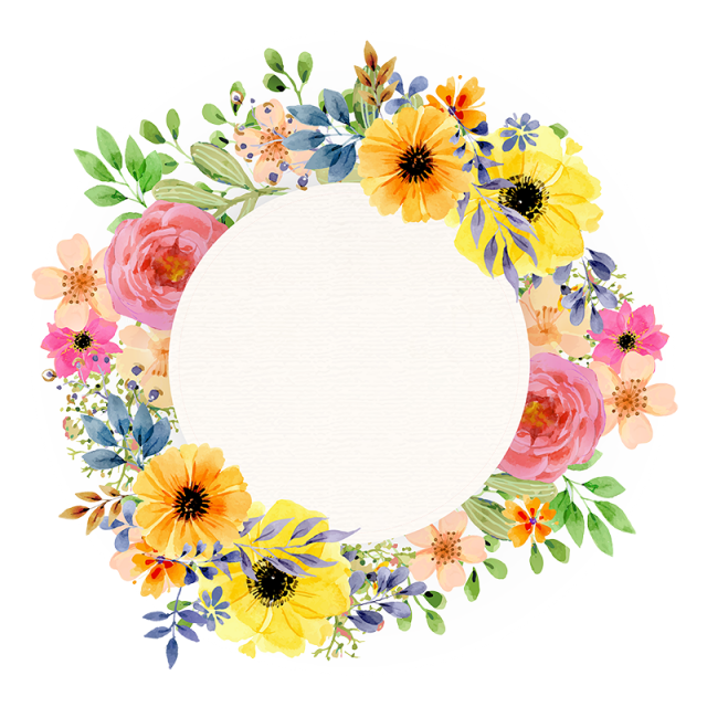 Vintage floral spring frame. Circle clipart watercolor