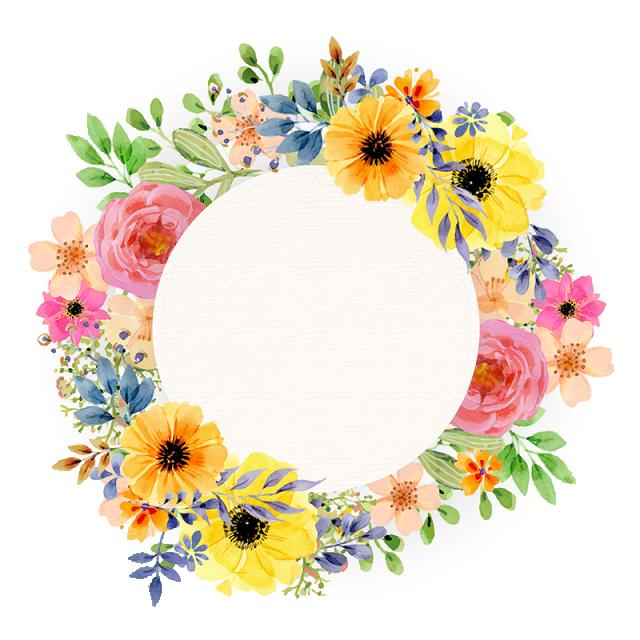 Watercolor vintage spring frame. Floral vector png