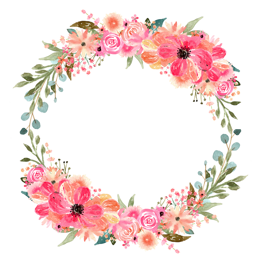 Circle clipart watercolor. Florals for graphic design