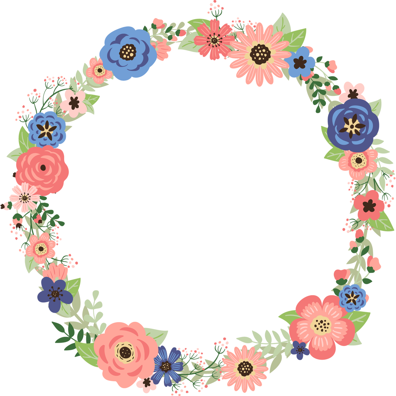 Coral and navy floral. Circle clipart wreath