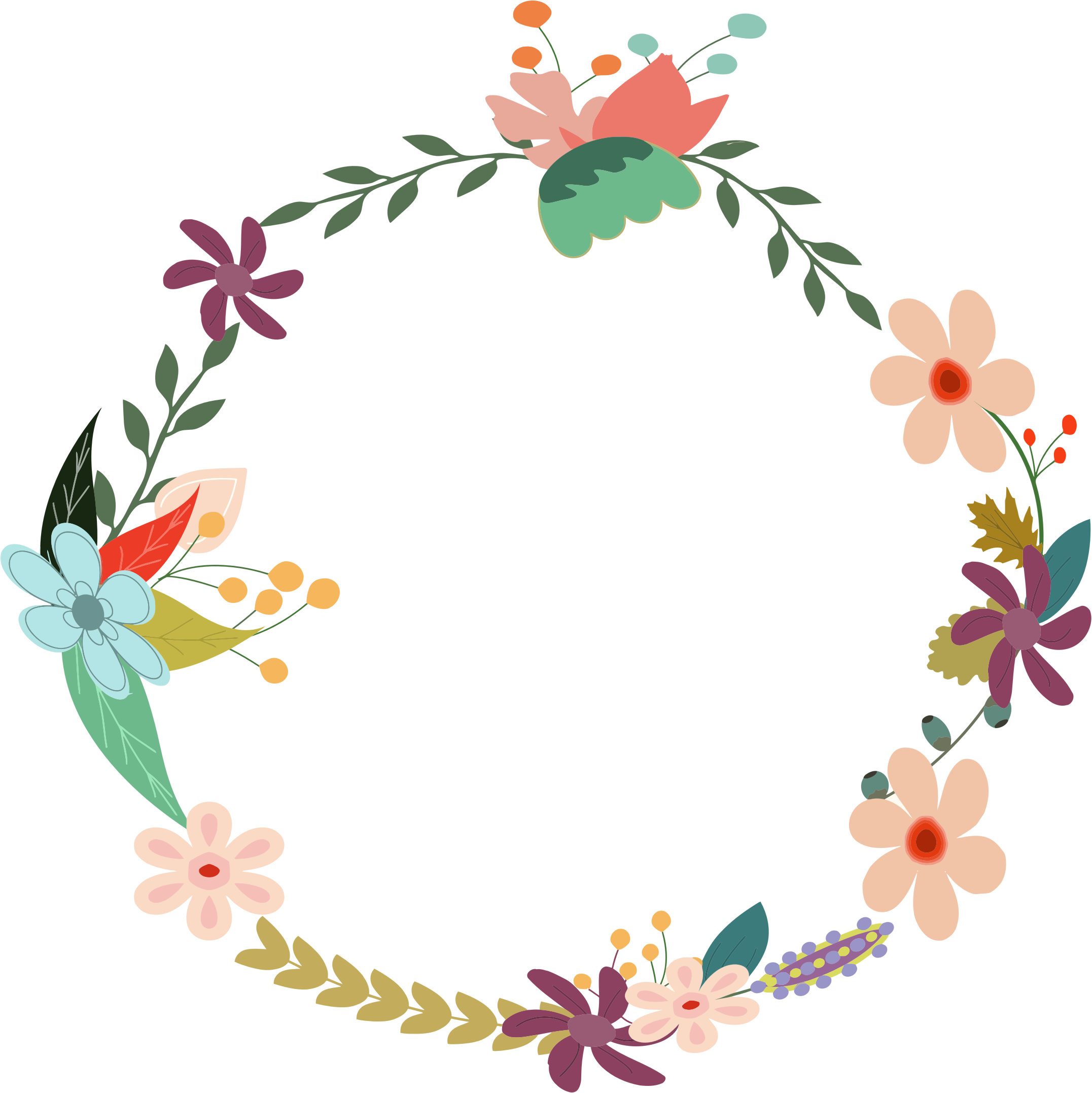 Vintage floral by gdj. Circle clipart wreath
