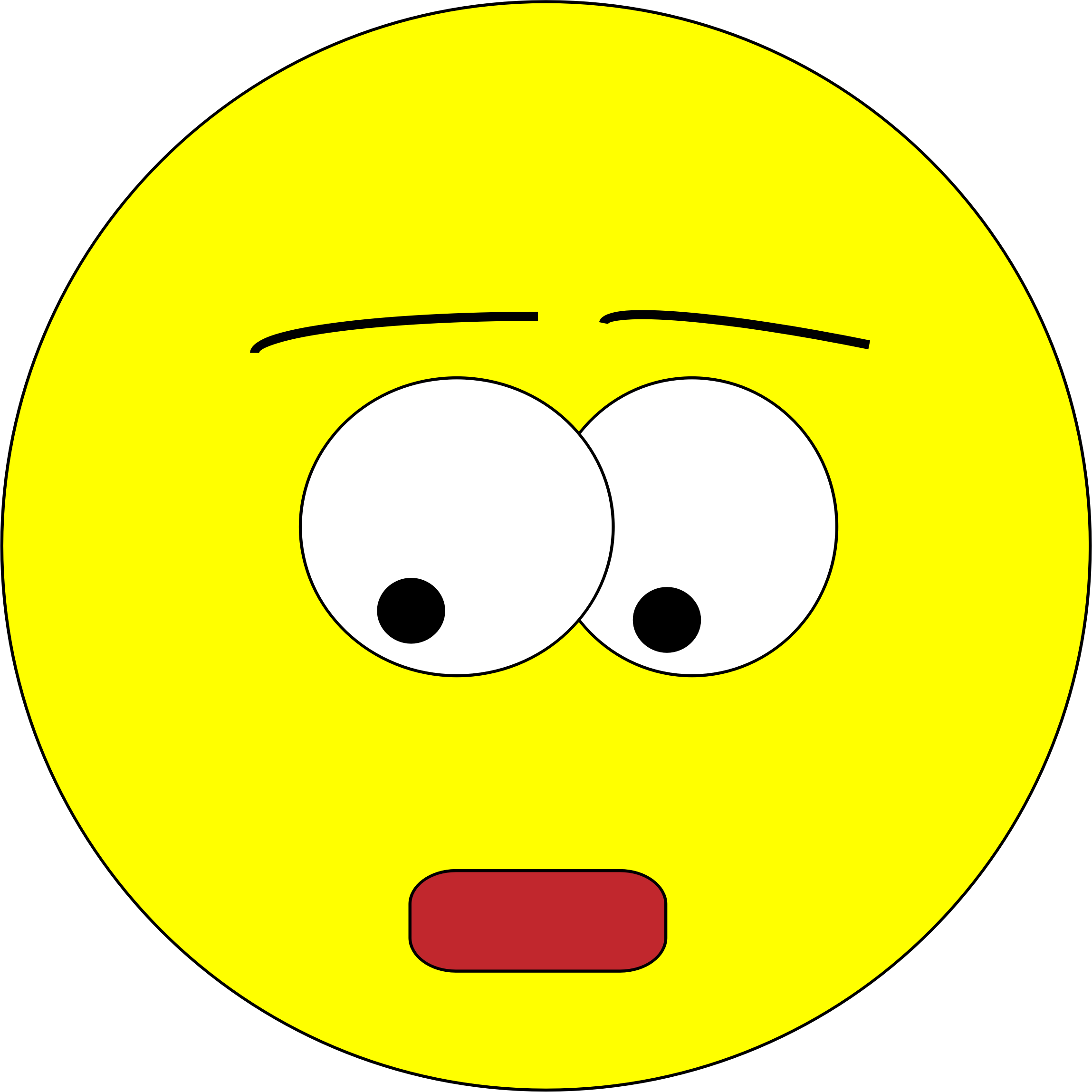 Circle clipart yellow. Face scared big image