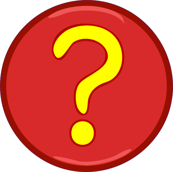 Circle clipart yellow. Question mark inside red