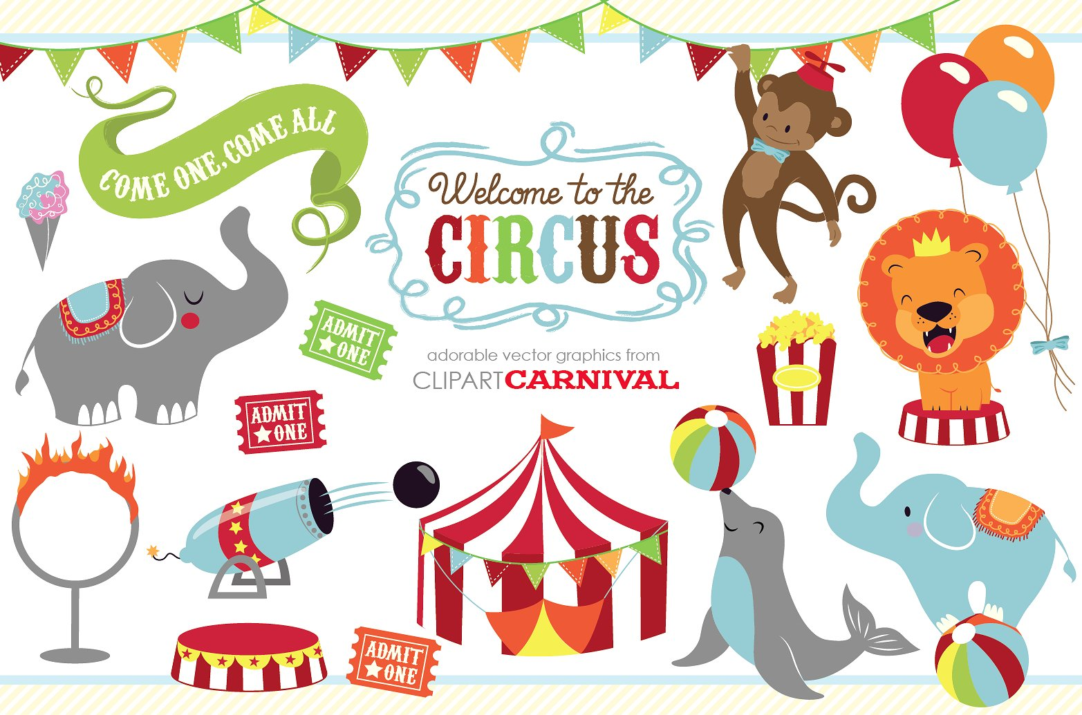Baby circus animals clip. Carnival clipart cute