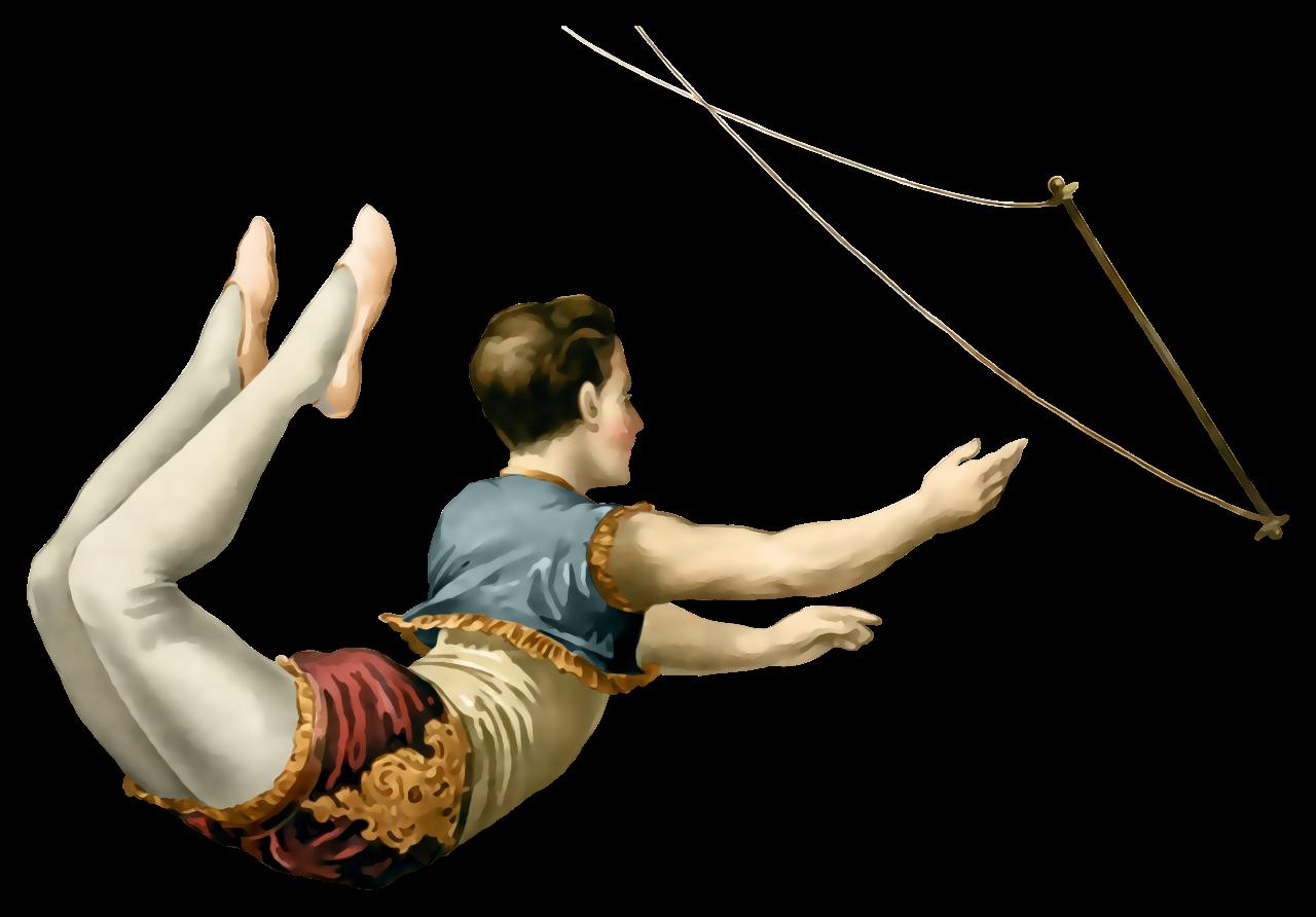 L minas vintage antiguas. Clown clipart trapeze artist