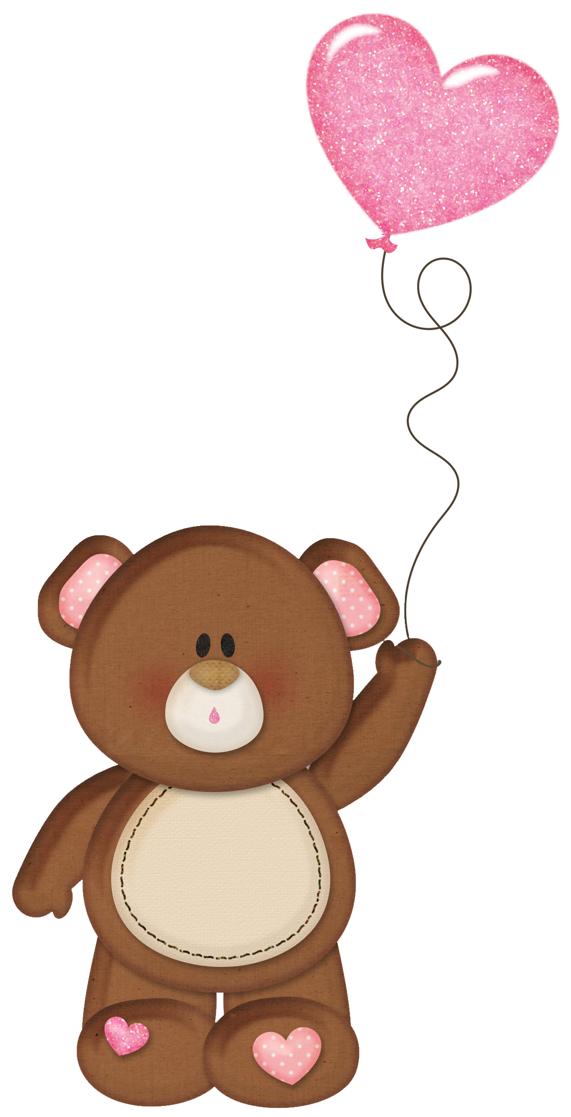 Teddy with pink heart. Mittens clipart brown
