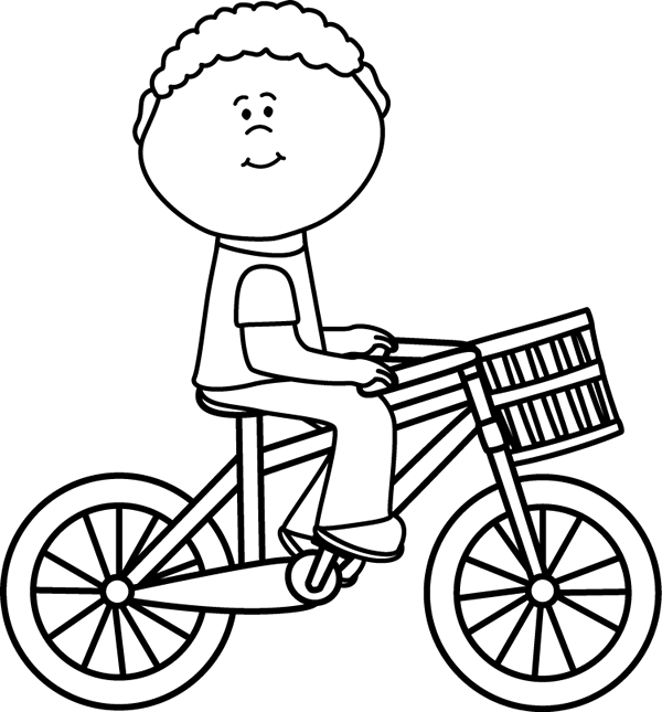 Boy riding a bicycle. Mittens clipart black and white