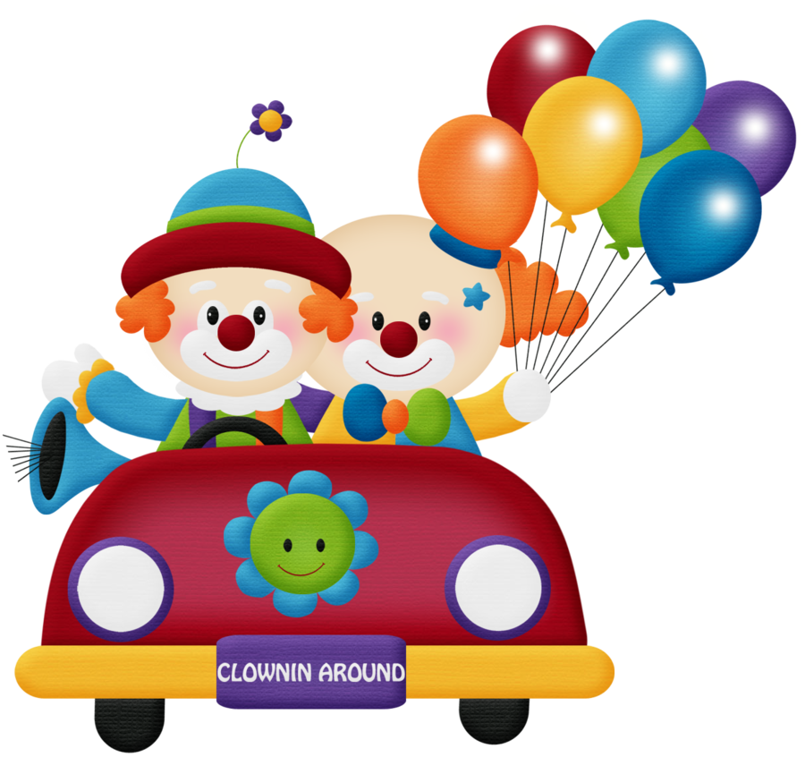 Circo aw clown car. Clipart balloon circus