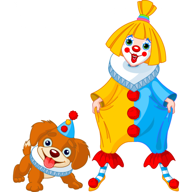 And dog stickers circus. Clown clipart woman