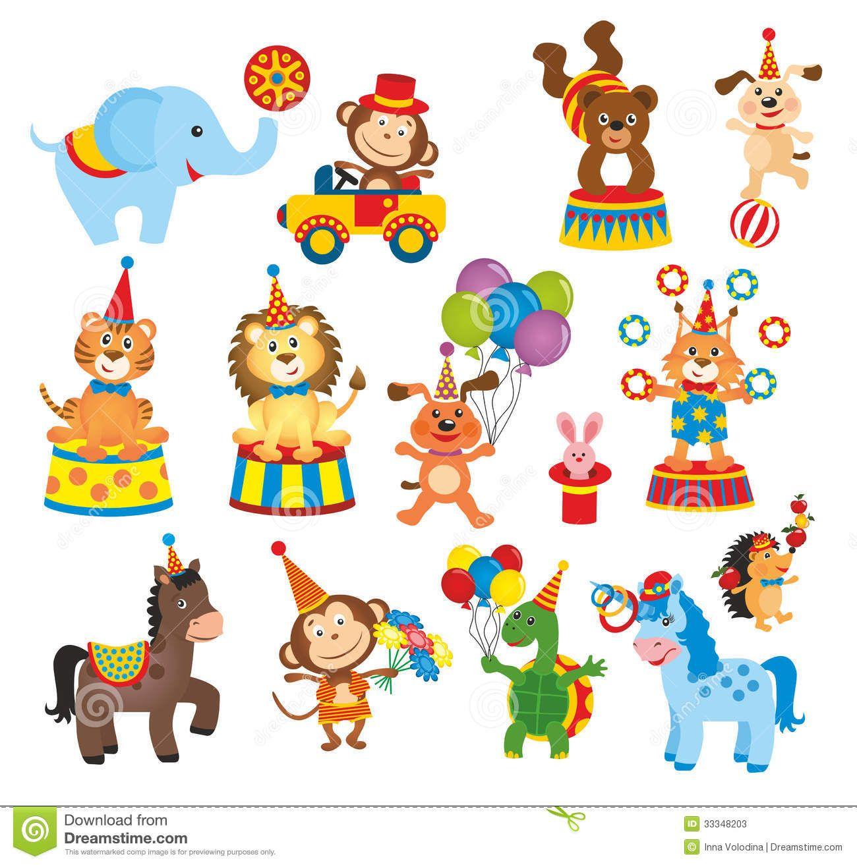 Circus clipart cartoon. Set of animals in