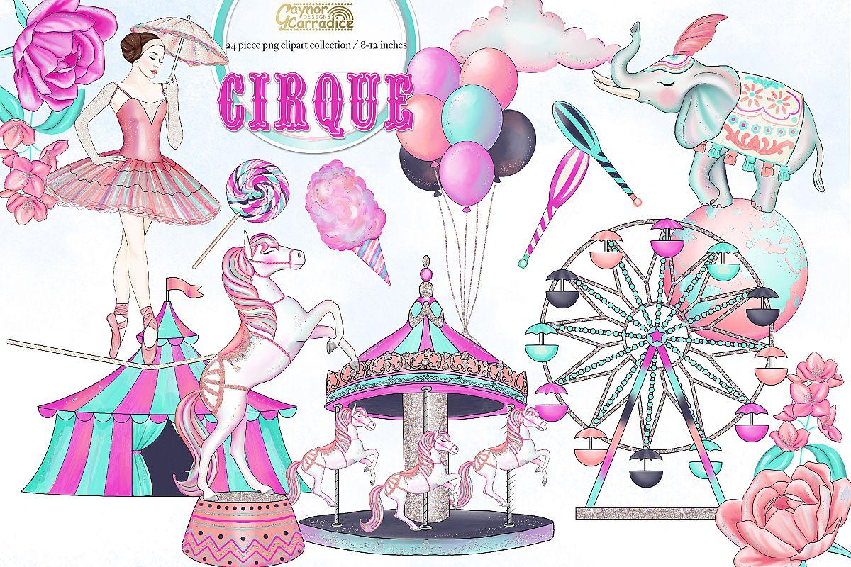 Watercolor collection . Circus clipart cirque