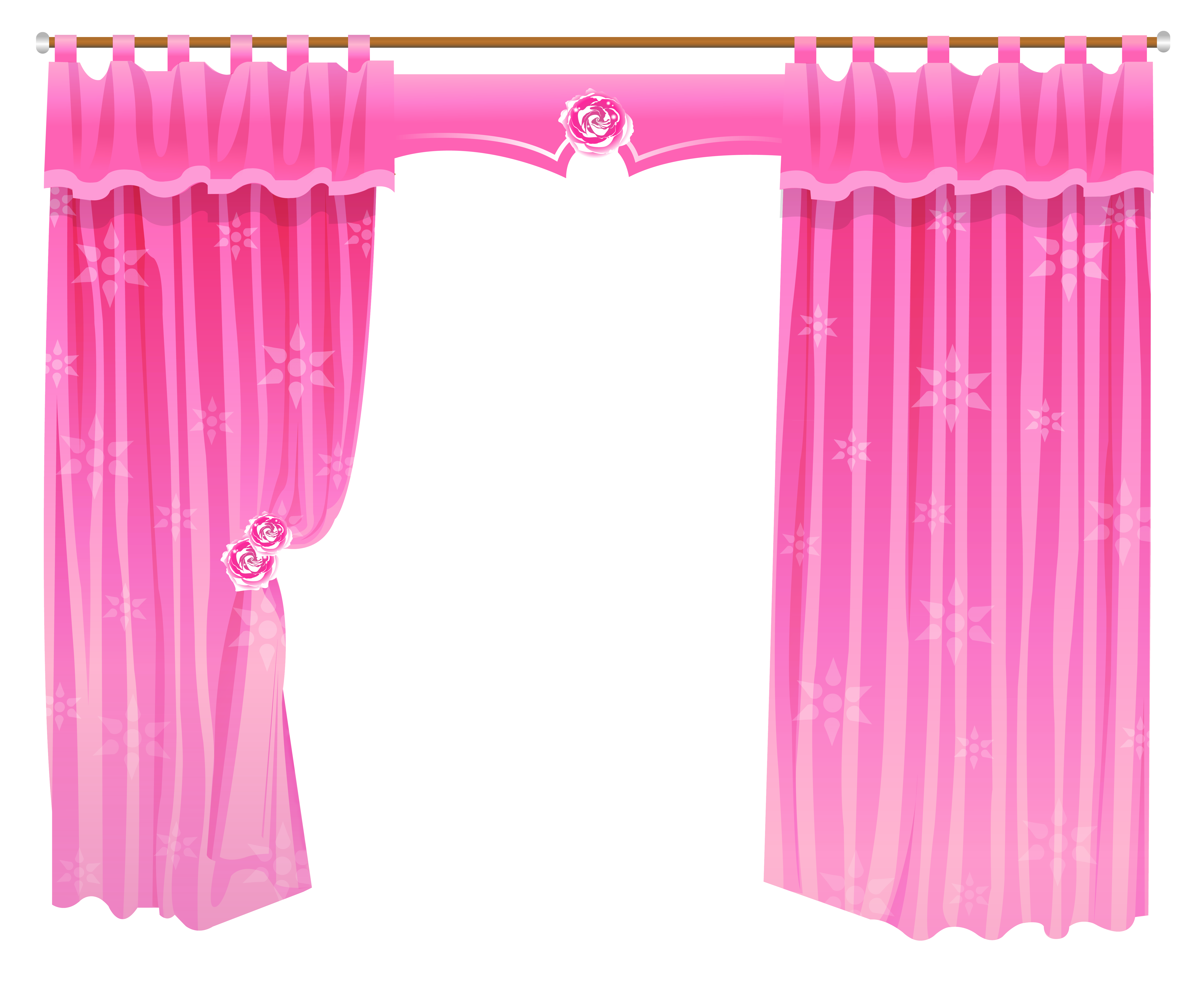 Curtain cliparts pink. Curtains clipart flower