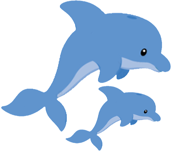 Babyface with baby shower. Dolphin clipart logo