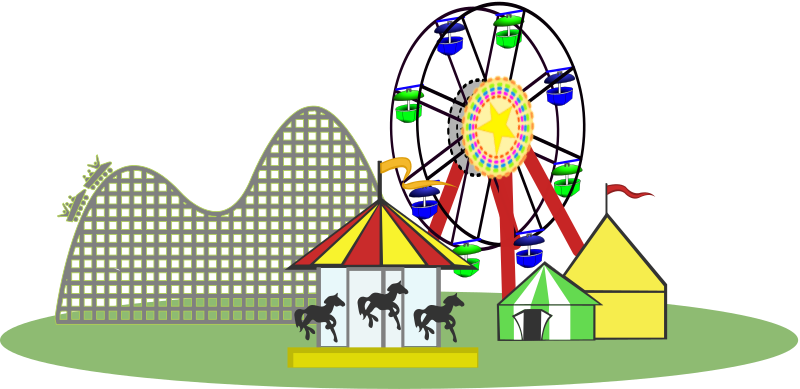 Rollercoaster clipart theme park. Remix of carnival color