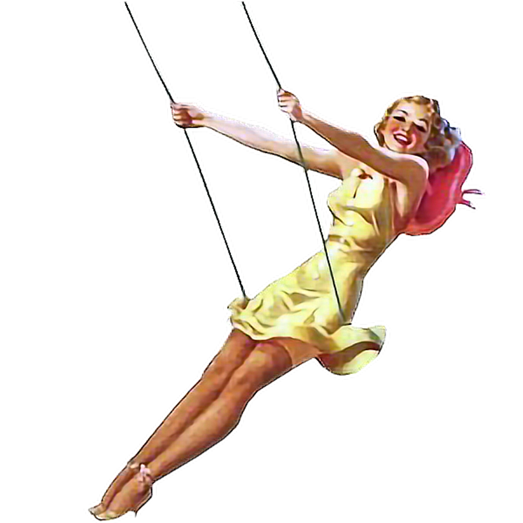 Pinup swing woman vintage. Circus clipart flying trapeze