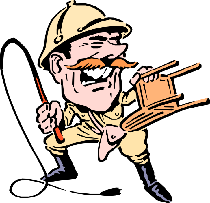 Lion tamer with and. Whip clipart person