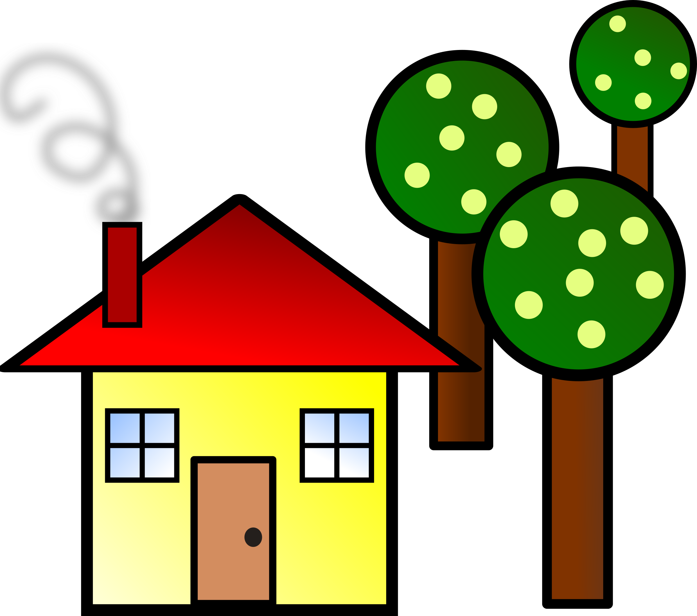House with trees by. Quilt clipart household