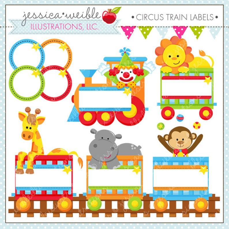 Train labels cute digital. Circus clipart label