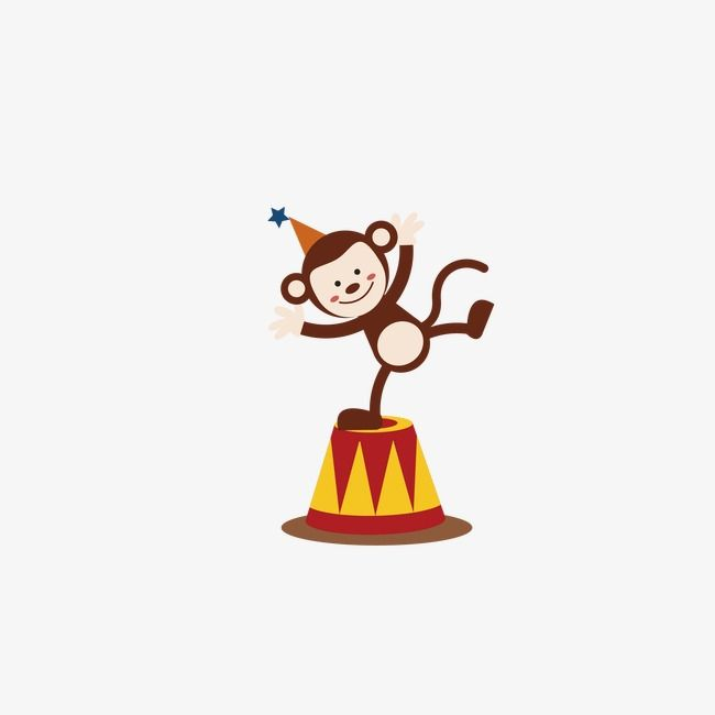 Clown performance zoo acrobatics. Circus clipart monkey