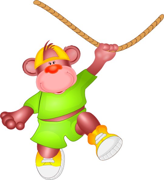 Clipart monkey circus. Jumping on rope clip