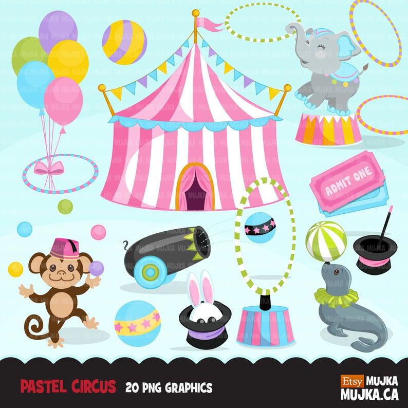 Big top carnival graphics. Circus clipart pastel