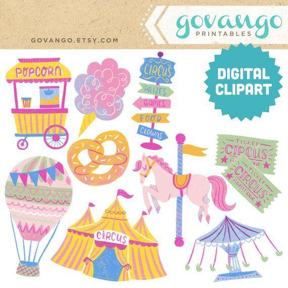 Carnival digital instant download. Circus clipart pastel