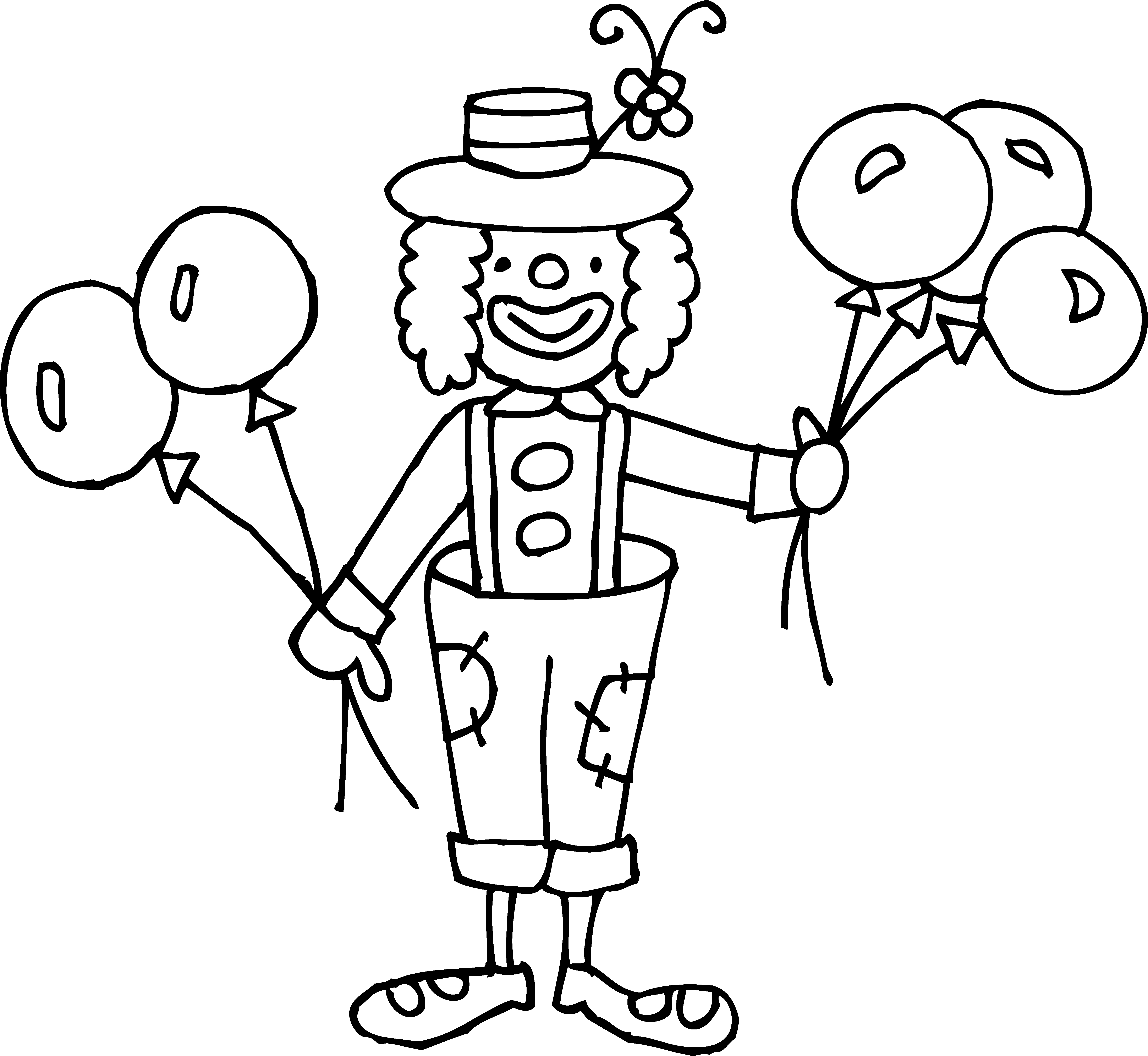 collection of circus. Clown clipart balloon coloring page