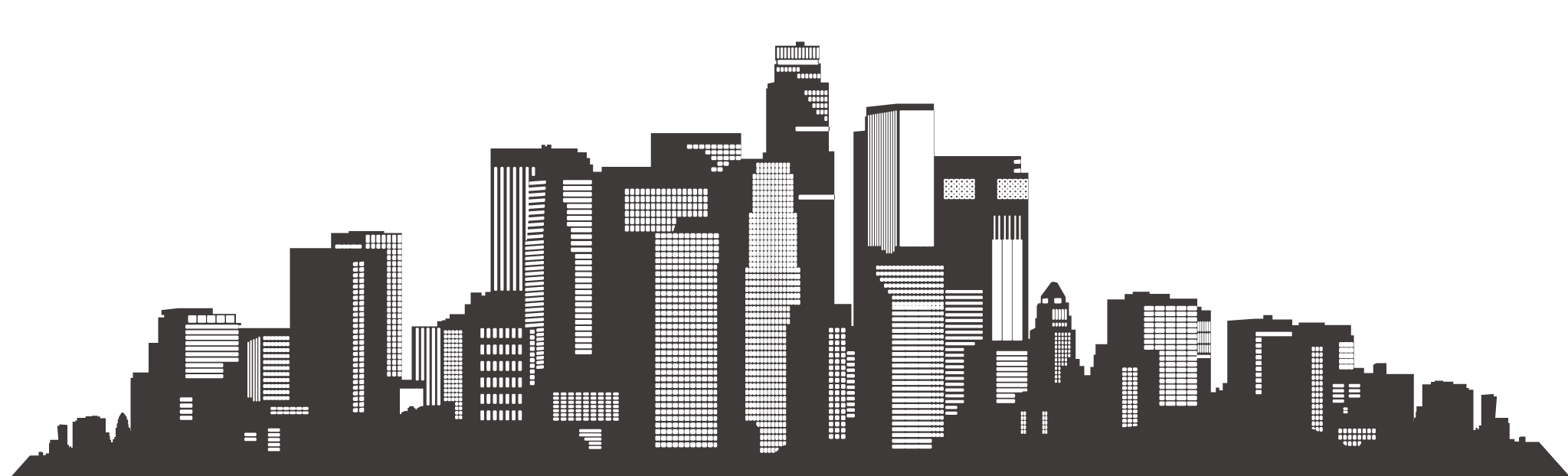 Los angeles skyline silhouette. City clipart architecture