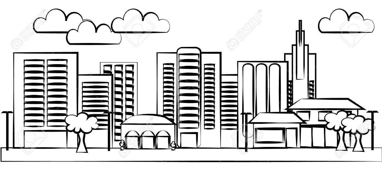City clipart black and white. Station