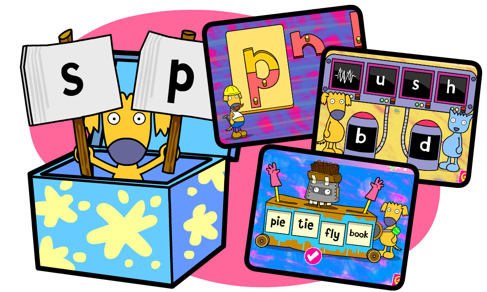 Group language and phonics. Game clipart literacy game