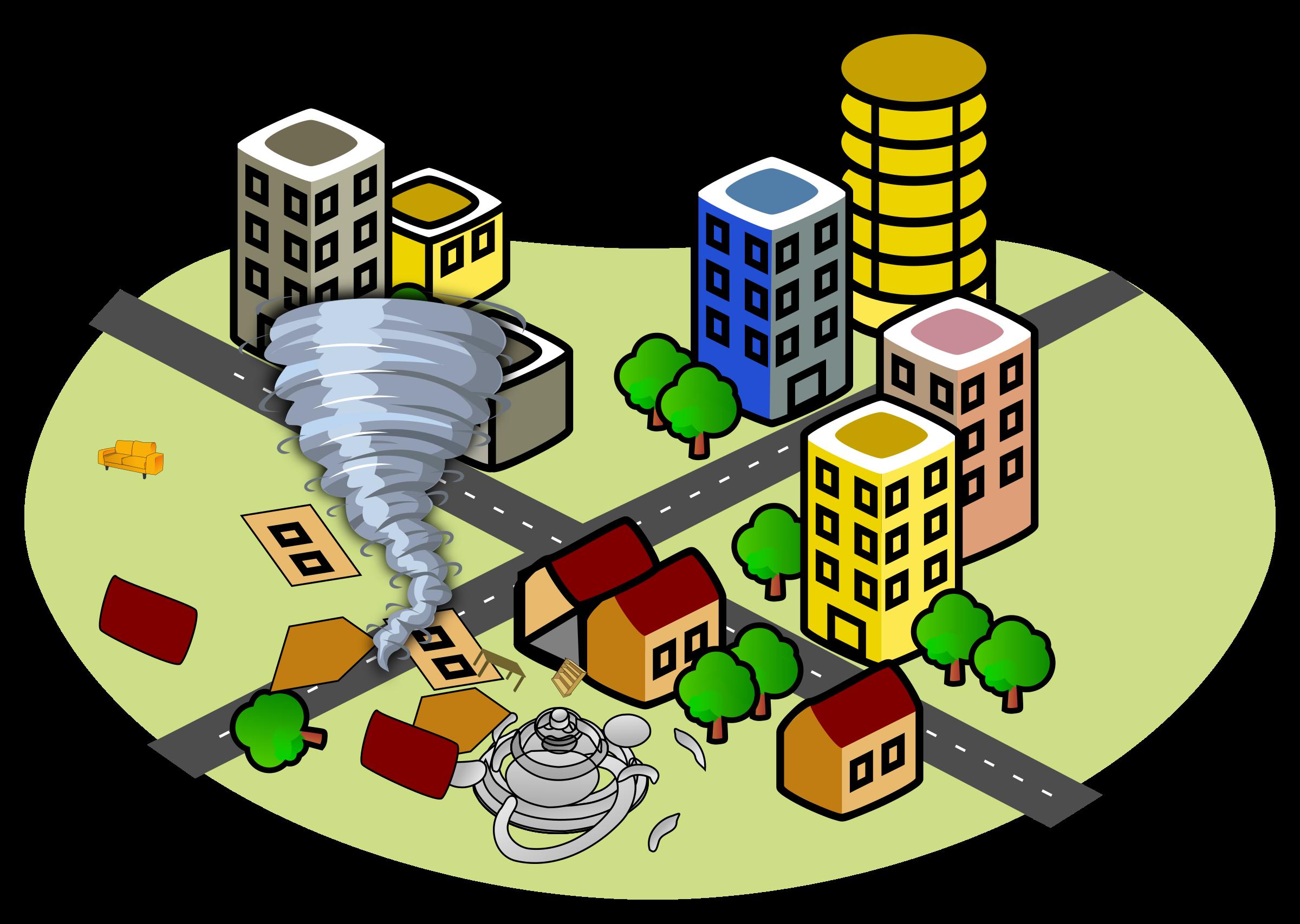 City with a big. Clipart house tornado