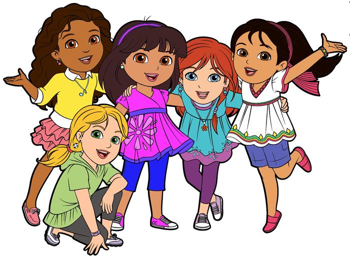 Dora and friends cartoon. Friendship clipart congenial