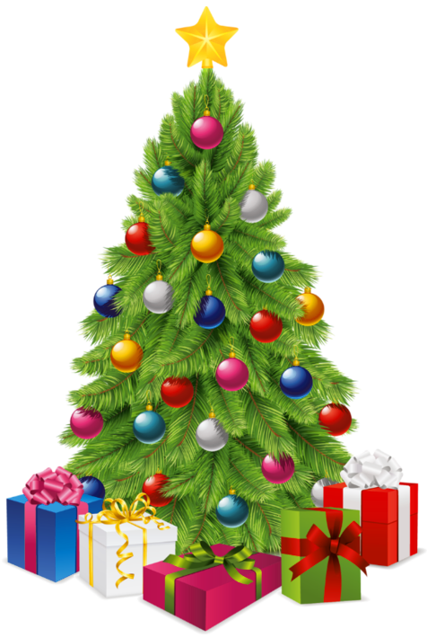 Transparent tree with gift. Cool clipart christmas