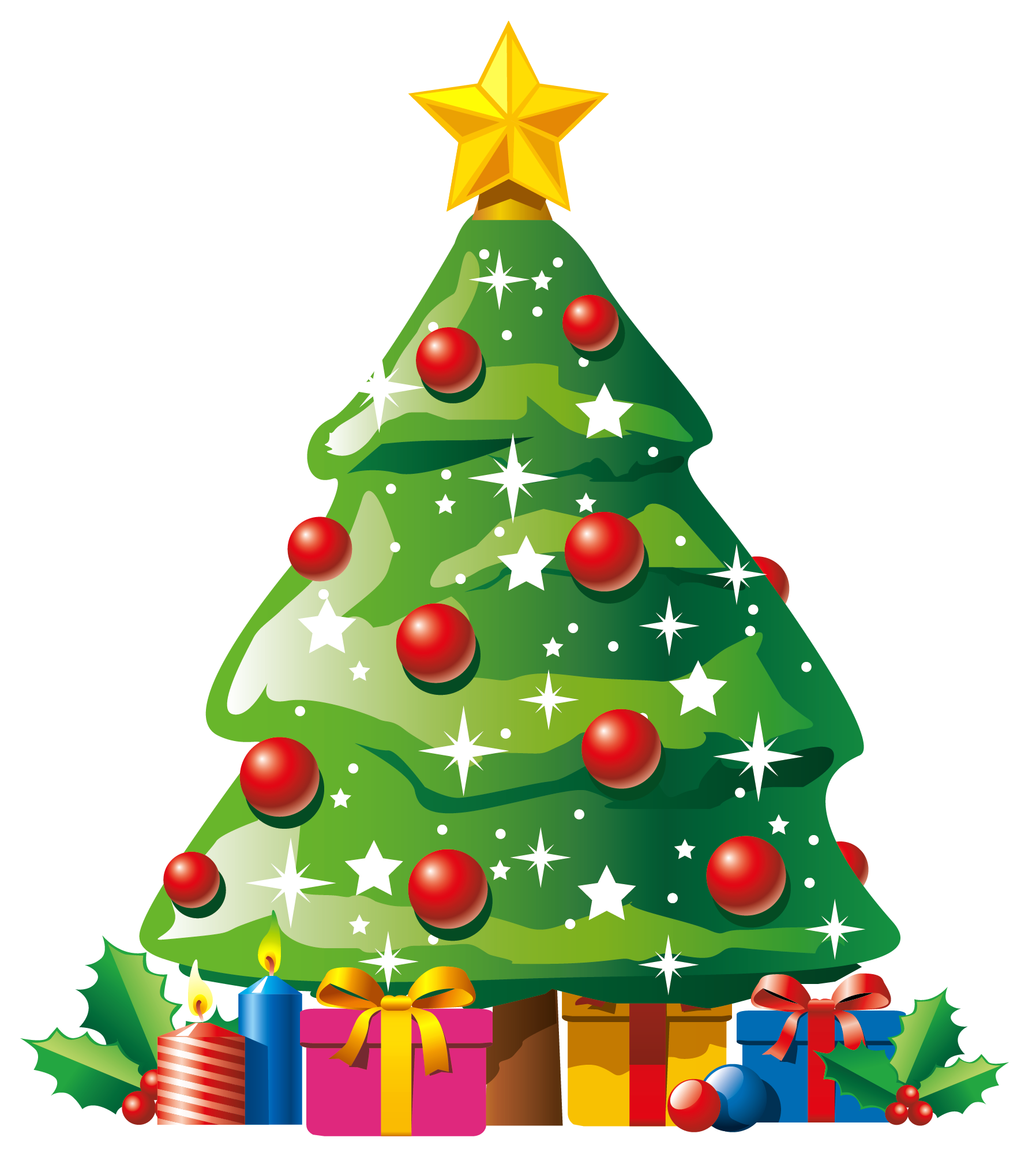 Transparent deco christmas tree. Door clipart holiday
