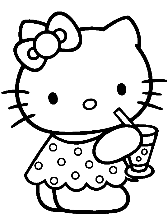 Hello kitty was drinking. E clipart elephant coloring page