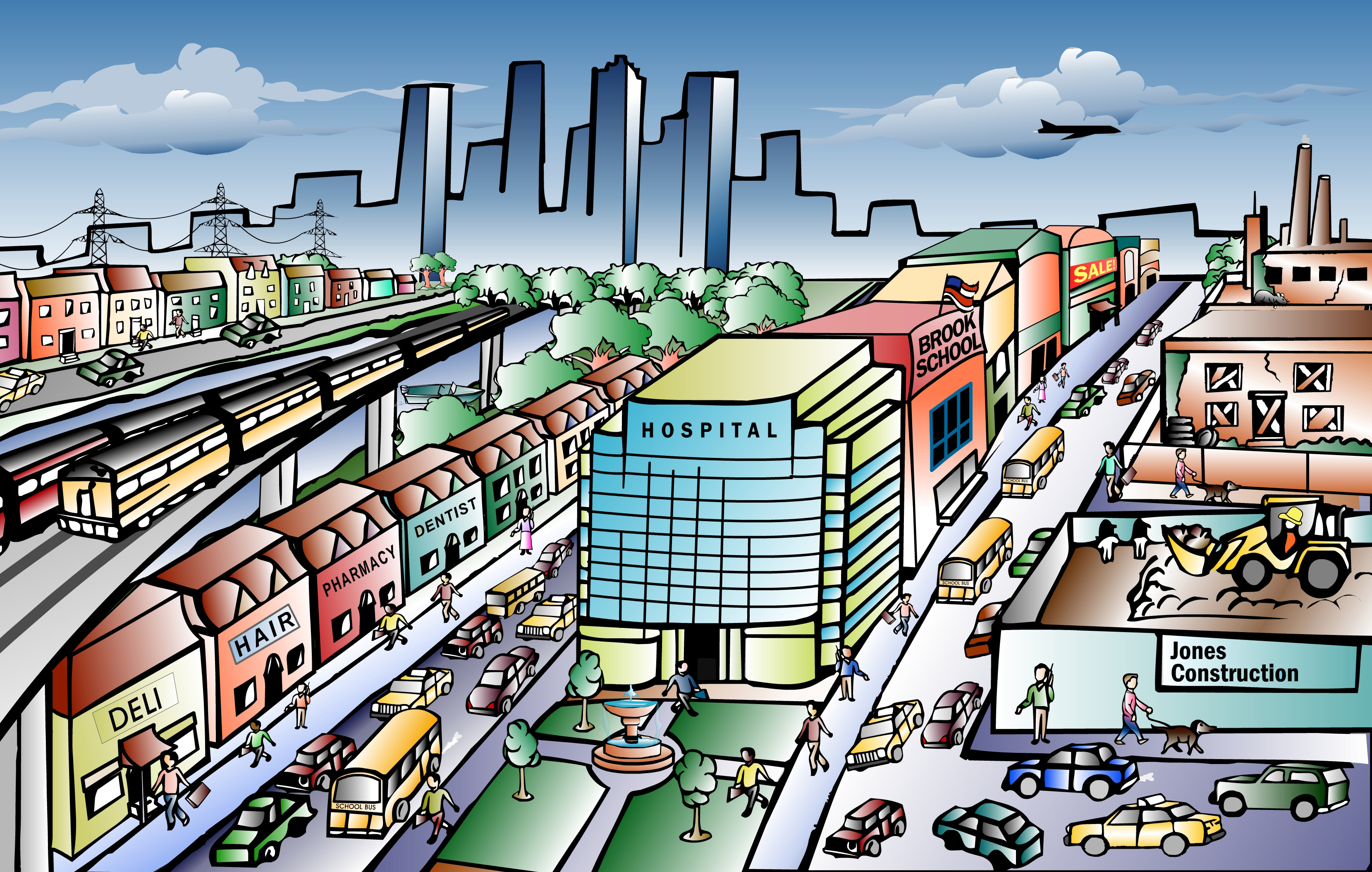 Cityscape clipart urban community. Free town cliparts download