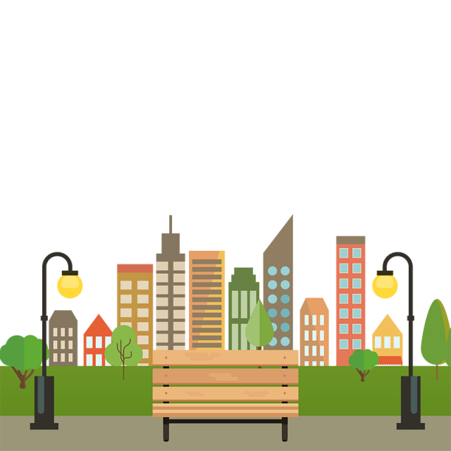 City vector png. Colorful building with bench