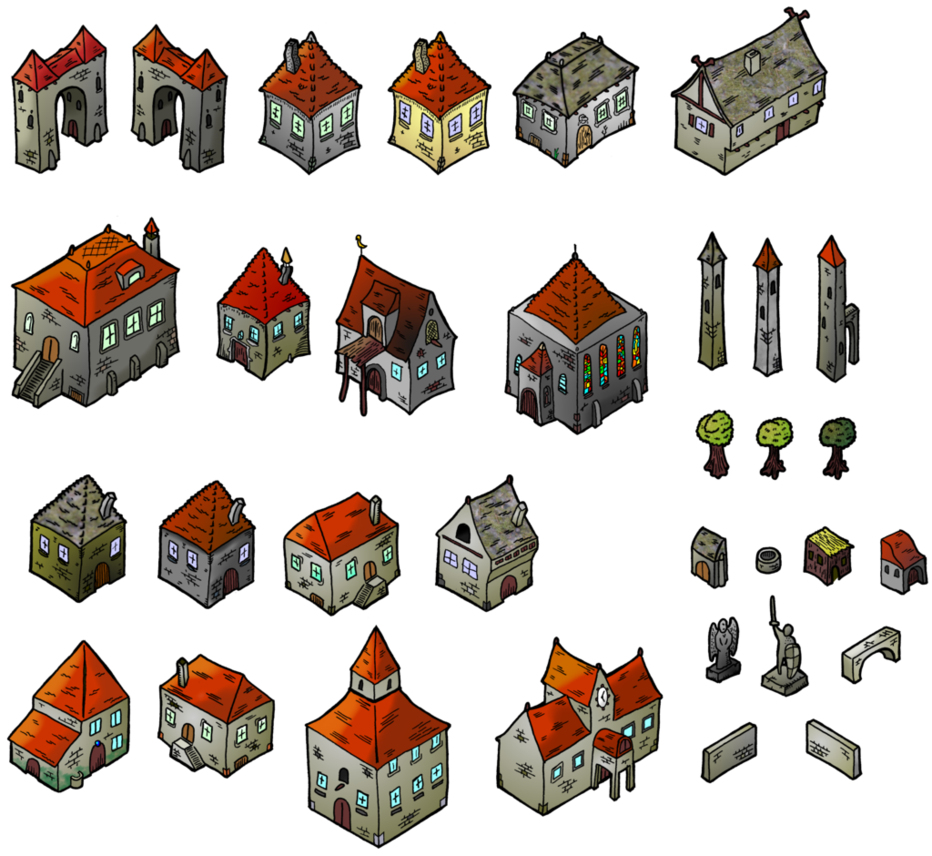 Lake clipart isometric. Medieval houses map elements