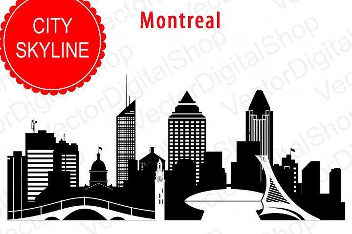 Cityscape clipart svg. Montreal vector silhouette canada