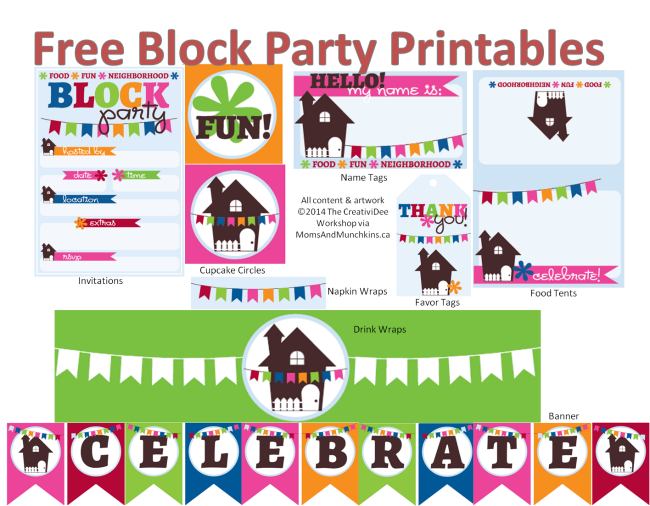 Neighborhood block party printables. Watermelon clipart picnic potluck