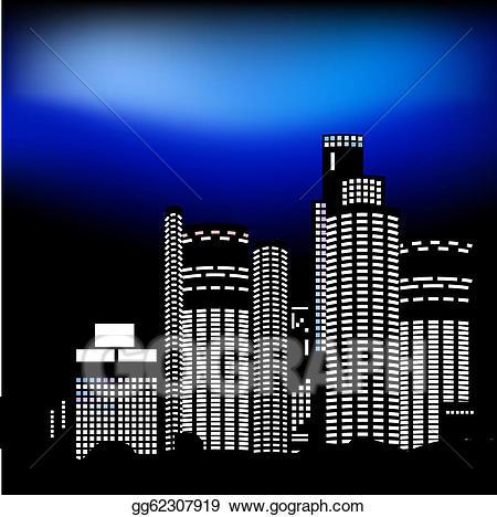 City clipart night light. Vector art drawing gg