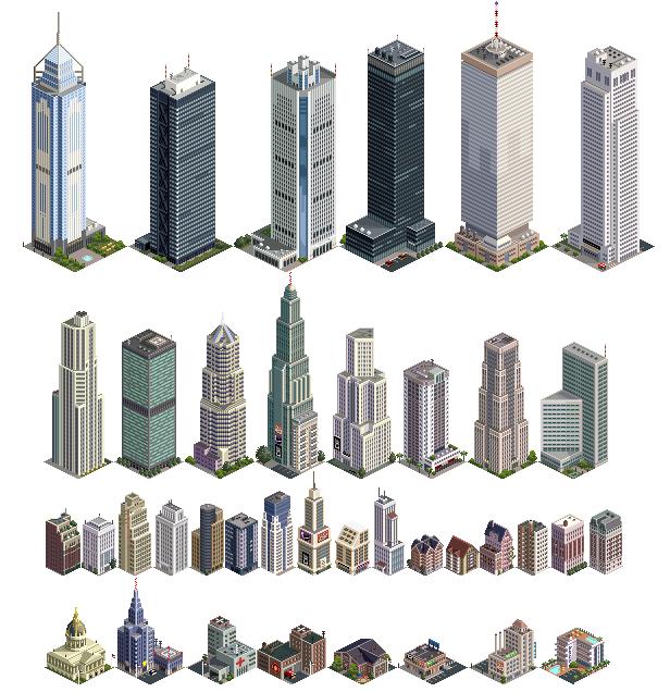 Buildings for tiiiicooooon monsters. City clipart pixel