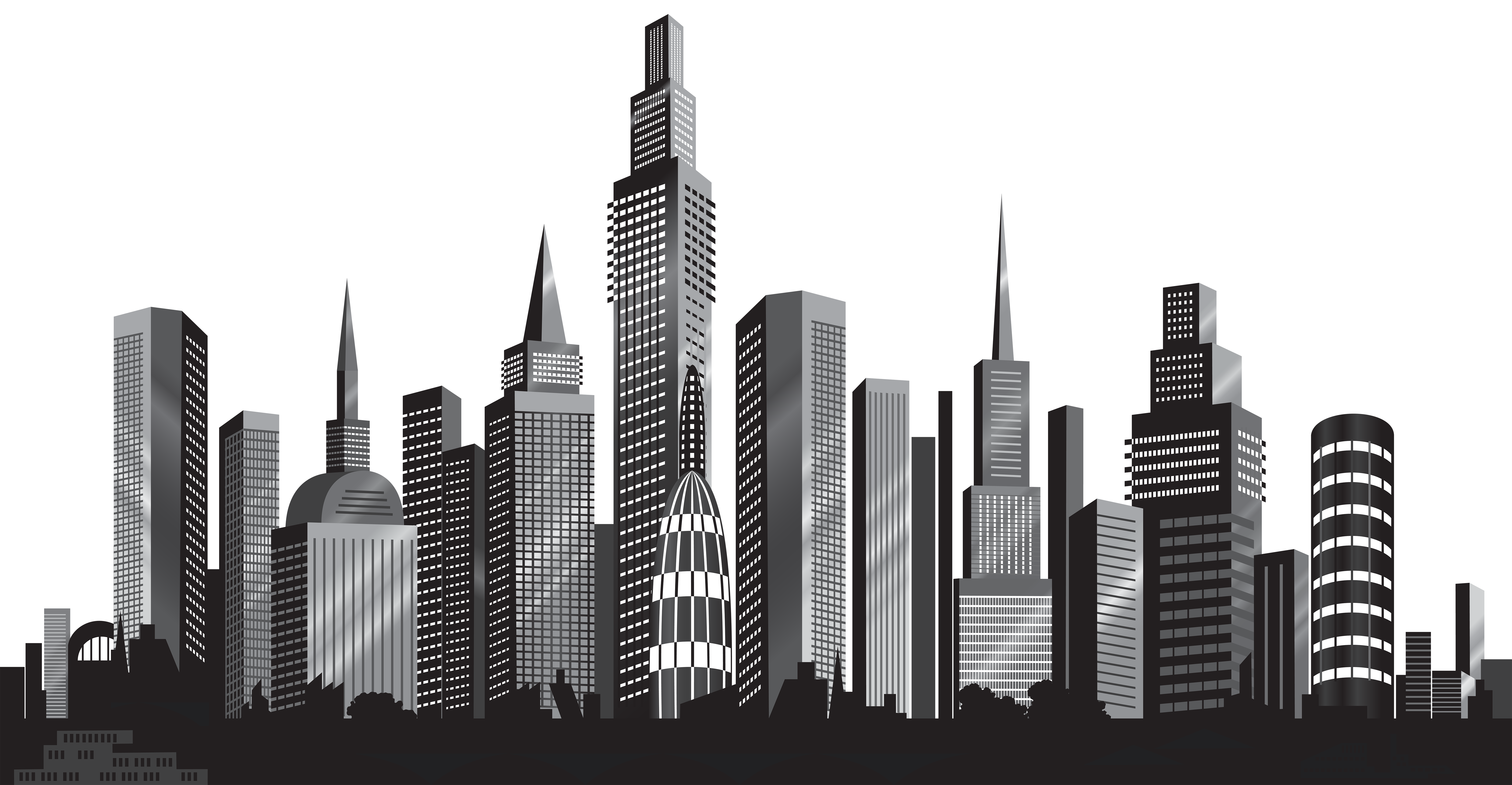 Cityscape silhouette png clip. Night clipart city light