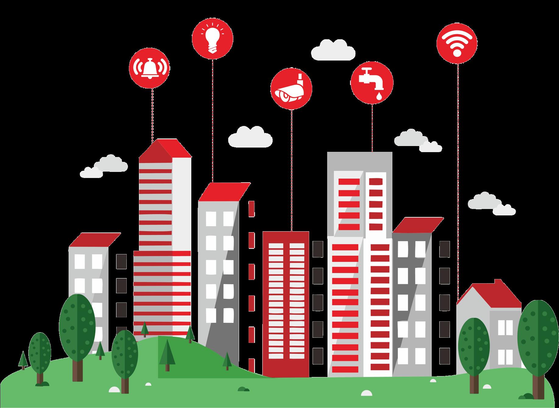 Building automation digitalization transprent. City clipart smart city
