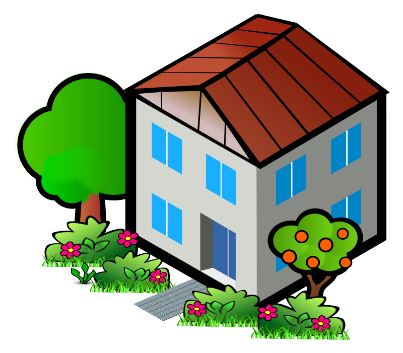 Silhouette side view at. Home clipart animated