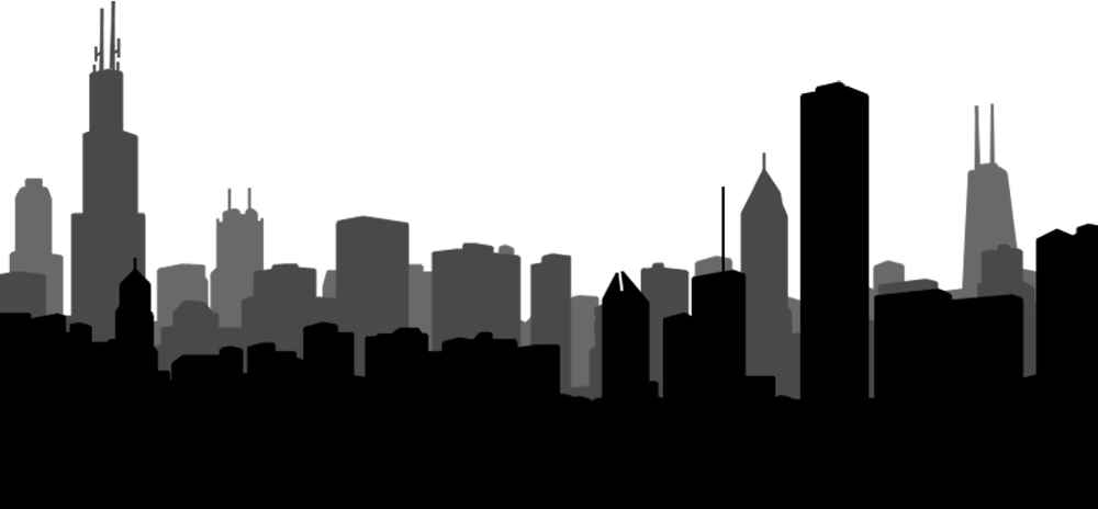 Skyscraper png black and. City clipart transparent background