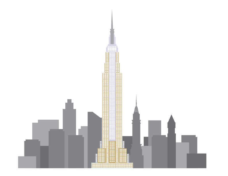 Empire state building png. City clipart transparent background