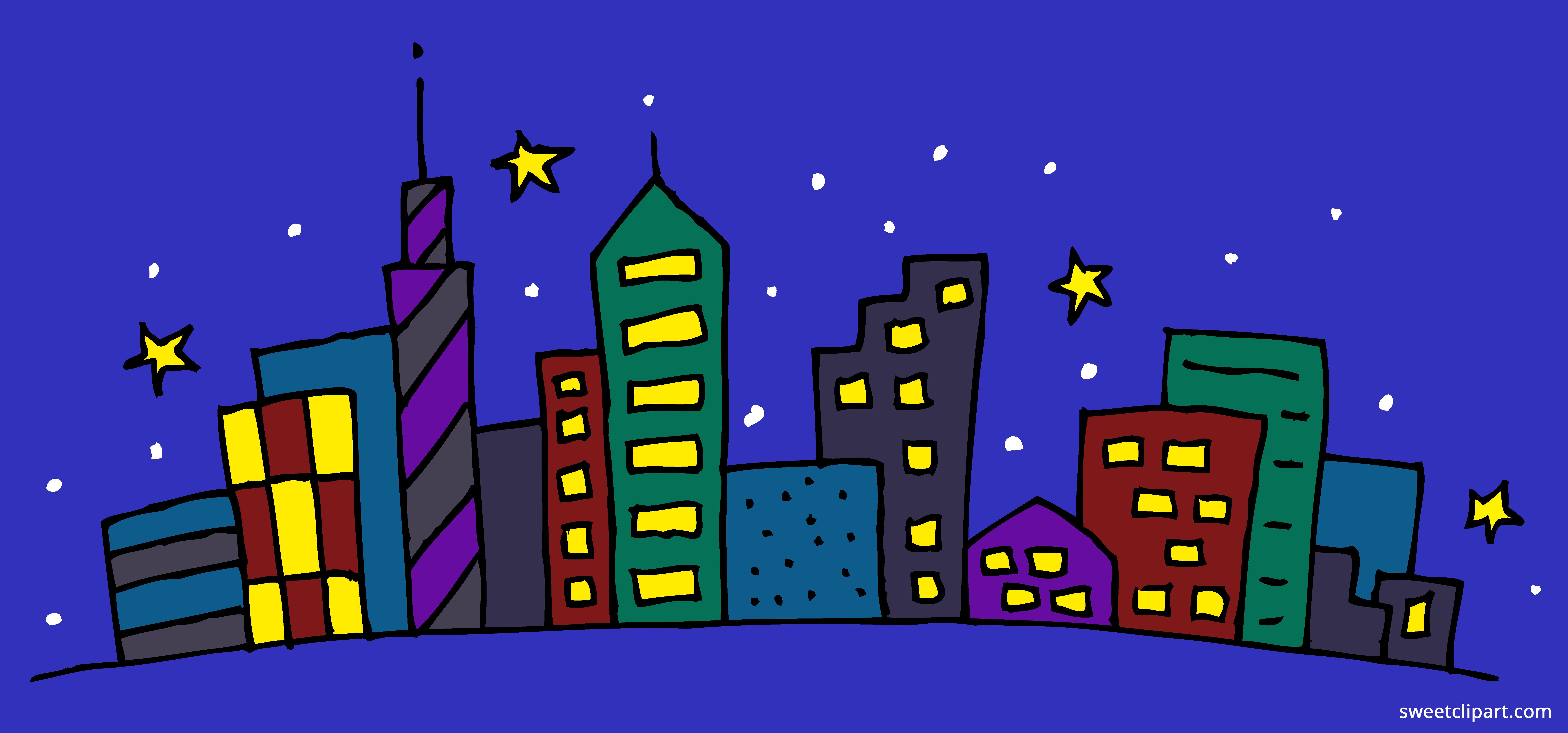 Cityscape clipart. Night sweet clip art